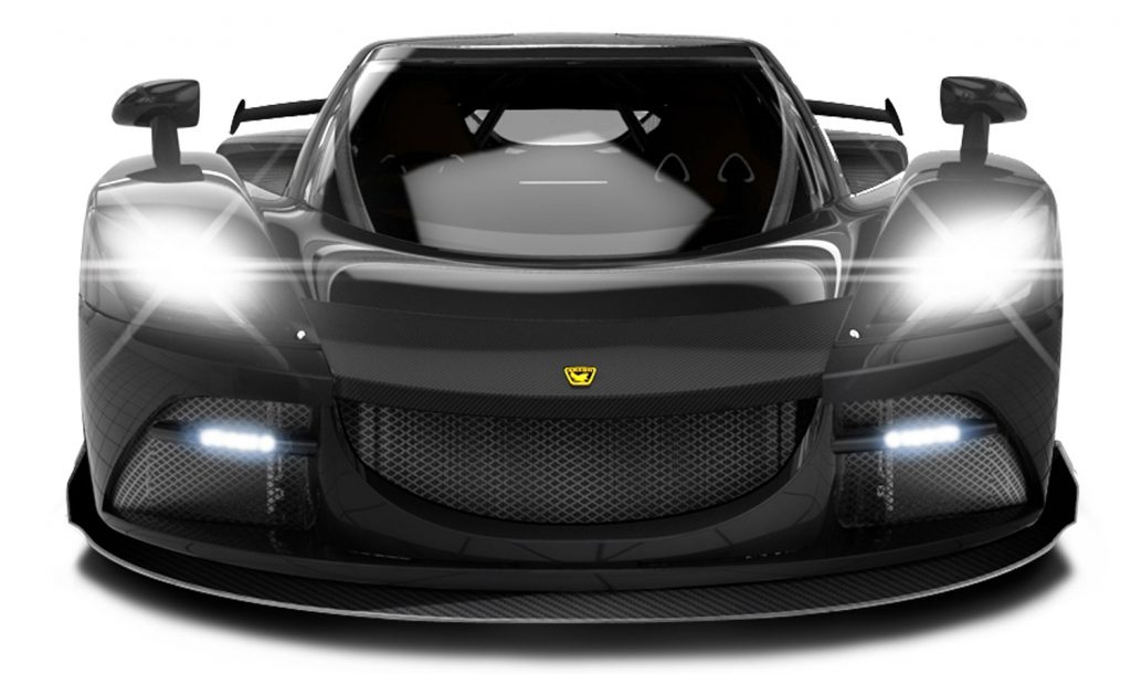 Arash Motor Company AF10 - Front elevation, headlights on.